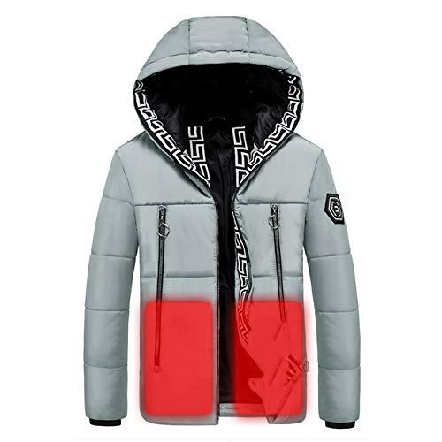 HWZZ Winter-Daunenjacke, kalt und warm, drei Heizzonen, wiederaufladbarer Akku, geeignet zum Wandern, Grau, 2XL