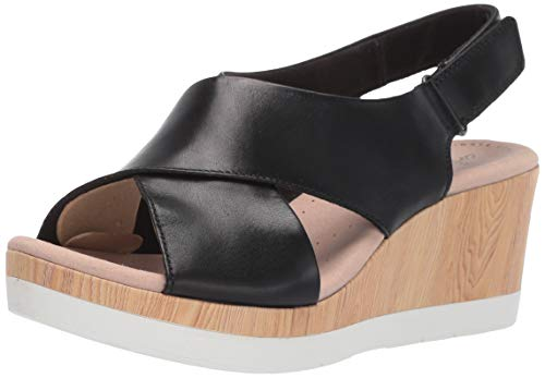 Clarks Women's Cammy Pearl Wedge Sandal, Black Leather, 060 M US