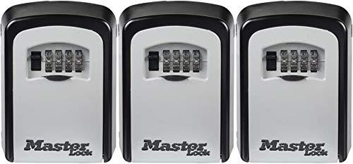 Master Lock 5401D Set Your Own Combination Wall Mount Lock Box - Caja de bloqueo para 5 llaves, color negro, paquete de 3