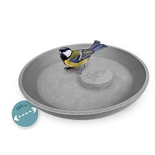 wildtier herz | Neuheit - Große Premium Vogeltränke Ø 28 cm, Vogelbad stehend für den Garten, Frostsicher & Witterungsbeständig, Vogelbecken, Wasserschale