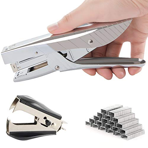 Madeking 60% Effortless Desktop Stapler with 1000 Staples ,The Hand-held staplers Have 40 Sheet Page, Easy to Load Ergonomic All Metal staplers for Desk, Includes Staple Remover (1, Silver)