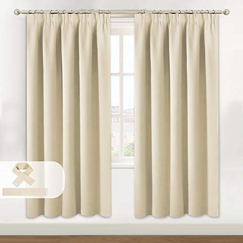 Blackout Curtains Room Darkening Thermal Insulated with Two Matching Tie Backs Pencil Pleat Window Curtain for Living Room 46 x 72 Inch Beige 2 Panels