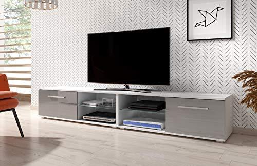 3xeLiving Mueble de TV modernista Punes Blanco / Gris Brillo 200 cm