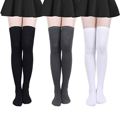 Damen Kniestrümpfe - Overknee Strümpfe Streifen Lange Socken Retro Knitting Strümpfe Mädchen Cheerleader Sportsocken Baumwollstrümpfe, Schwarz+weiß+grau A, Durchschnittlicher Code