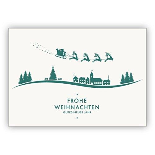 Kartenkaufrausch Mooie lichte kerstkaart met envelop met vliegende slee over Kerstmis landschap: Vrolijk kerstmis goed nieuwjaar • als liefdevolle kerstpost voor jaarwisseling