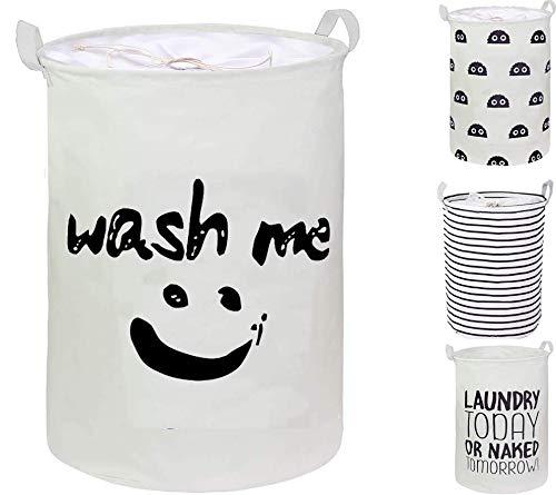 CAM2 - Cesti portabiancheria con coulisse da 50,8 cm, capienti e pieghevoli, impermeabili, per biancheria, con manici per vestiti, camera da letto, giocattoli (coulisse wash-me)