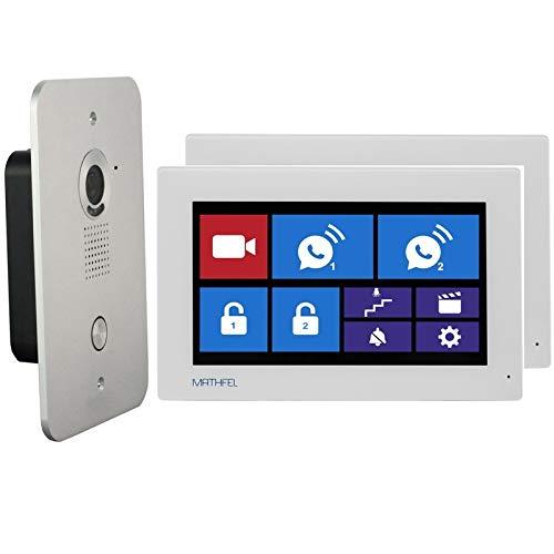 4 Draht Video Türsprechanlage Gegensprechanlage 7'' Monitor Klingel Farb mit oder ohne WLAN Schnittstelle, Farbe: Ohne, Größe: 2x7'' Monitor