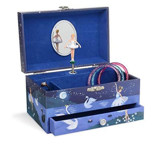 Jewelkeeper - Ballerina muzikale sieradendoos met uittrekbare lade, Glitter ontwerp - Zwanenmeer Melodie