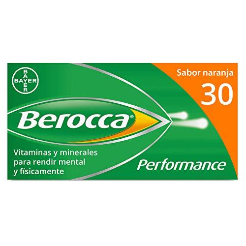 Berocca Performance Complejo de Vitaminas y Minerales Sin Cafeína, Contribuye al Rendimiento Mental y Físico, Sabor Naranja, 30 Comprimidos Efervescentes