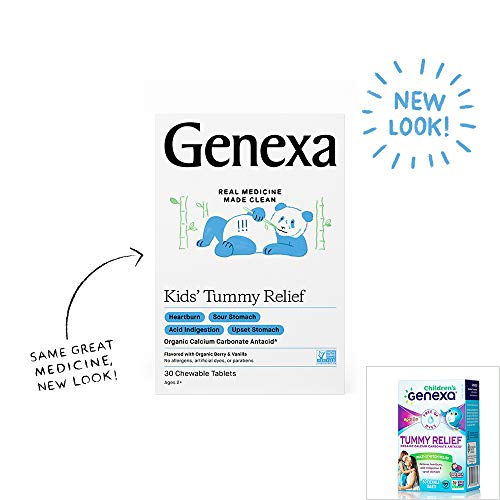 Genexa Kids' Tummy Relief – 30 Chewable Tablets   Calcium Carbonate Antacid, Non-GMO Verified, Certified Gluten-Free & Certified Vegan   Free of Talc & Dyes …