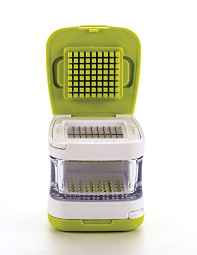 RSVP International Garlic Clove Cube Press Tool, Green/White   BPA-Free Plastic with Stainless Steel Blades   Minces & Slices   Chop, Crush, or Dice Garlic & Herbs   Dishwasher Safe