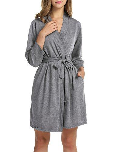 Hotouch Women Soft Cotton Bathrobe Lightweight Lounge Robe Heather Gray XL