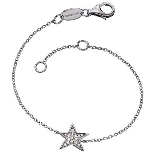 Engelsrufer Stern Armband für Damen rhodiniertes 925er-Sterlingsilber mit 15 weißen Zirkonia Länge 16 cm + 2 cm
