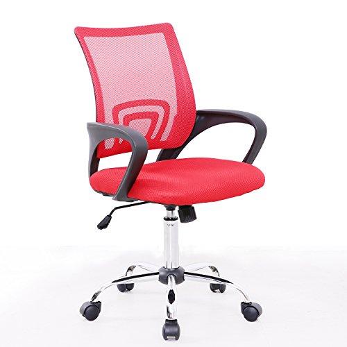 SVITA Kinder Schreibtischstuhl Bürostuhl Netzbezug Drehstuhl Stuhl Schreibtisch (Rot)