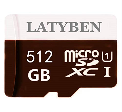 High Compatible Memory Class 10 Micro SD Card 512 GB Tarjetas de memoria SDXC Micro TF Card Transflash con Free SD Adapter para smartphones y otros dispositivos (512 GB)