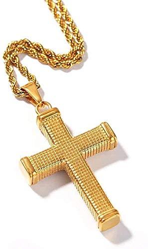 WLHLFL Collar para Hombre Hip Hop Cruz Collares Pendientes Color Dorado Acero Inoxidable Nunca se desvanece Vintage Colgante Collar Hombre Hiphop Joyería Regalos Colgante Collar Niñas Niños Regalo