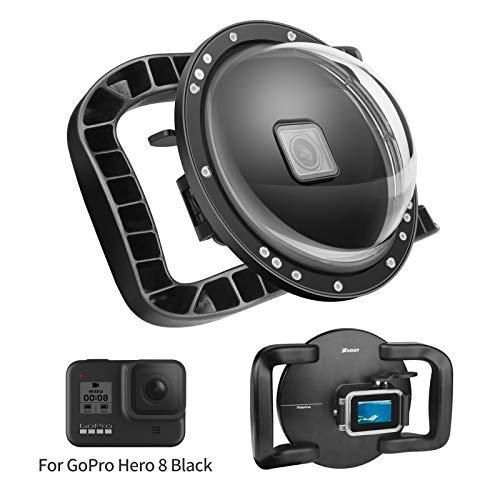 SHOOT Dome Port per GoPro HERO8 Black - Stabilizzatore a Doppia Impugnatura con Grilletto, Custodia Impermeabile Complessiva per Riprese Stabili in Acqua/Subacquee,Impermeabile Fino a 147 Piedi