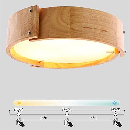 36W LED Holz Deckenleuchte Rund, Modern Dimmbare Deckenlamp Φ 46CM Deko Wohnzimmerlampe, Acryl Lampenschirm, Leuchte Fur Schlafzimmer, Flur Arbeitszimmer