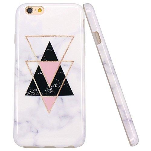 JIAXIUFEN Oro Triangolo Marble Design TPU Gel Silicone Protettivo Skin Custodia Protettiva Shell Case Cover Compatibile con iPhone 6 6S