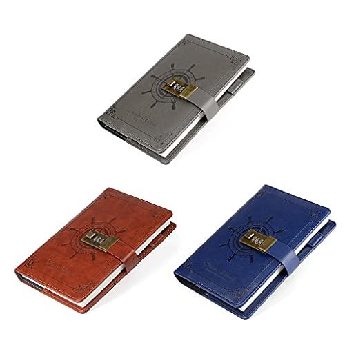 Unknows - Cuaderno de piel sintética con cierre de contraseña y clip para bolígrafo, agenda y bloc de notas para niños, señoras y oficina