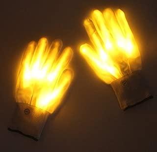 Lychee LED Leucht Handschuhe für Kinder & Erwachsene,6 Blinkmodie,Skeleton Leuchtende Handschuhe Party /Tanzen/Weihnacht/Halloween/Clubs (Gelb)
