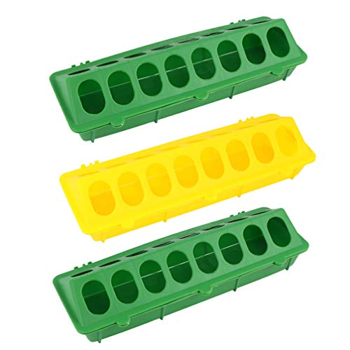 DOITOOL 3Pcs Plastic Flip Top Poultry Feeder for Pigeon Quails Ducklings Birds, Poultry Feeding Tray with Holes, Green Red Yellow Chicken Feeder No Waste No Mess Baby Chick Feeder