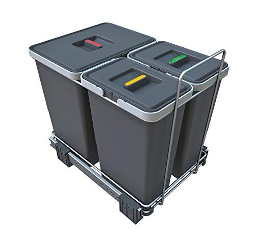 ELLETIPI Ecofil PF01 34B1 - Cubo de Basura de Reciclaje con Base diferenciada, extraíble, de plástico y Metal, Gris, 30 x 45 x 36 cm