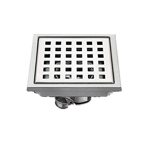 Feixunfan Bodenablauf Edelstahl-Quadrat-Fußboden-Abfluss Badezimmer Dusche Kanalisation WC Anti-Geruch für Badezimmer Duschraum Toilette (Color : Silver, Size : ONE Size)