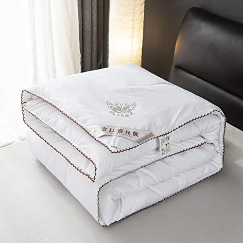 Hahaemall single duvet sanding silk comforter summer winter quilt queen twin size silk bedding duvet insert-180X220cm -2000g_white