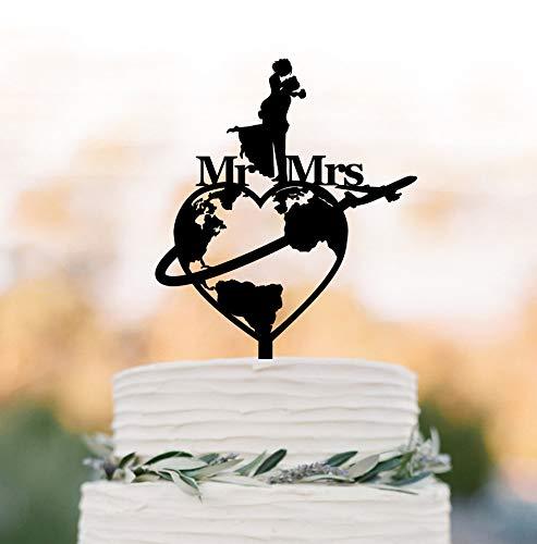 Décoration de gâteau de mariage sur le thème des voyages - Carte du monde - Avion Mr et Mrs - Silhouette de mariés et de mariés