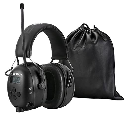 PROHEAR (Upgraded) Gehörschutz mit Bluetooth, FM/AM Radio Wiederaufbare Ohrenschützer, Eingebautem Mikrofon und Lärmreduzierung für lärmintensive Freizeitaktivitäten SNR30dB (Schwarz)