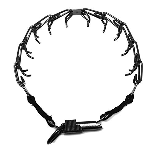 Herm Sprenger Black Stainless Steel Prong Dog Training Collar with Quick Release Buckle Ultra-Plus Pet Pinch Collar No-Pull Collar for Dogs Made in Germany 2.25mm x 16in Small
