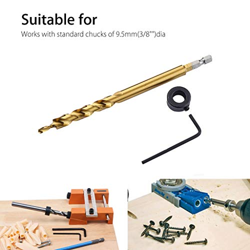 Lemoning Home Improvement Tools, Pocket Hole Jig Step Drill Woodworking Joinery for Wood Drilling Tool 3/8Inch C