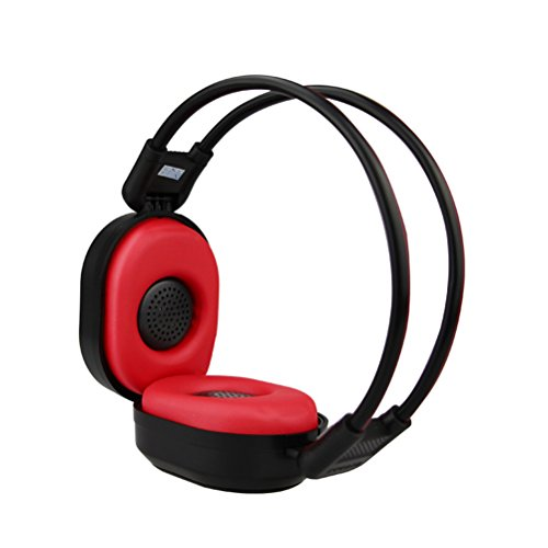 PIXNOR Foldable Wireless Headphone Portable FM Stereo Headset Radio (Black Red)