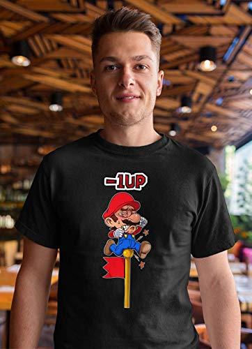 OKIWOKI T-Shirt Noir Super Mario parodique Mario : - 1 UP !! (Parodie Super Mario)
