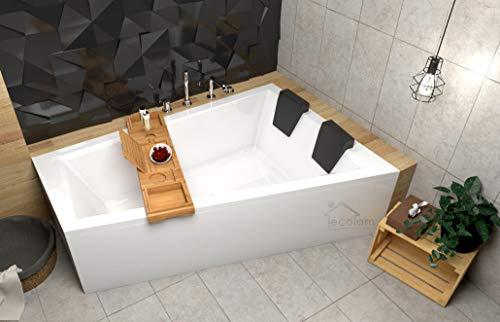 ECOLAM Badewanne Intima Duo Eckwanne für Zwei 180x125 cm RECHTS + Ablage Bambus + Schürze aus Acryl + 2x Kopfstütze Ab- und Überlauf Automatik Füße Silikon Komplett-Set - PERFEKT FÜR ZWEI PERSONEN