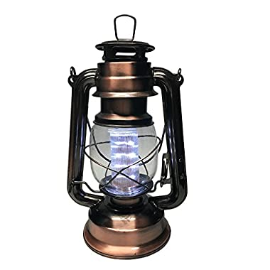 YAKii Vintage Style 12-LED Metal,Oil Lamp,Hurricane Lantern(Antique Bronze)