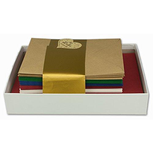 25x Farbige Karten blanko mit Umschlag und Einlegeblätter in DIN A6/ C6 - Winterfarben