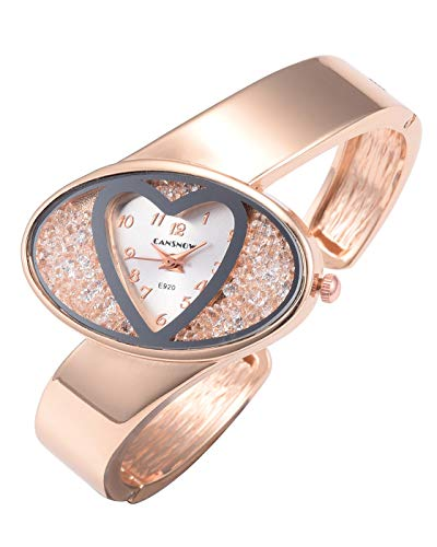 JSDDE Fashion Heart Dial Crystal Decoration Bangle Cuff Quartz Bracelet Watch for Women Ladies, Rose Gold-Silver Dial