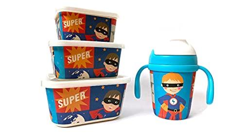 Pack 3 Tupper de Bambú Infantil Super Heroe + Vaso 300 ML. Fibra de Bambú | Vajilla Fibra de Bambú. Ecológico. Apto lavavajillas. Sin BPA | Perfecto para Niños.