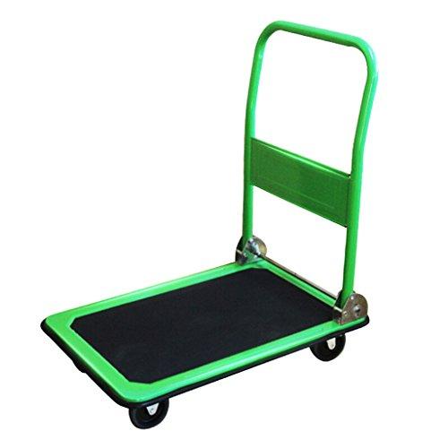 LIU UK Camion de Main/Camion à Plat/Chariots en Acier/Chariot Se Pliant muet/Fourgon/Chariot/Quatre Tours de Chariot d'outil poussant Vert/Charge 150KG