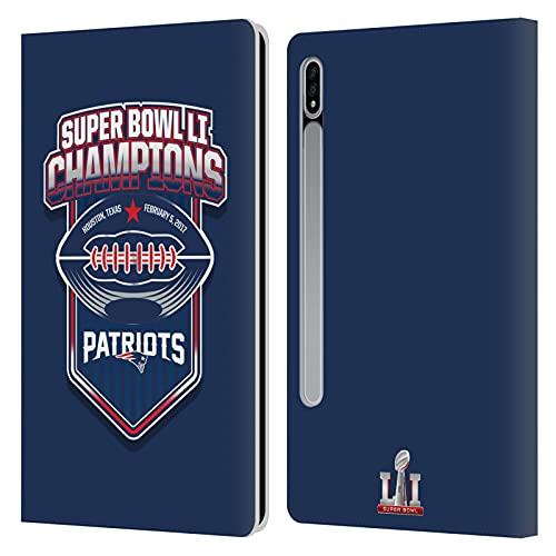 Head Case Designs Licenciado Oficialmente NFL Patriotas de Nueva Inglaterra 4 Campeón del Super Bowl Li 2017 Carcasa de Cuero Tipo Libro Compatible con Samsung Galaxy Tab S7 5G