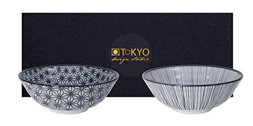 TOKYO design studio Nippon Black 2-er Schalen-Set schwarz-weiß, Ø 21 cm, ca. 1000 ml, asiatisches Porzellan, Japanisches Design mit schwarzen Mustern, inkl. Geschenk-Verpackung