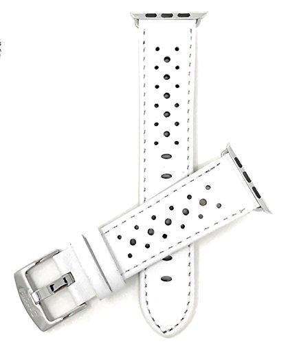 Bandini Ersatzlieferung Uhrenarmband für Apple Watch 38mm, Leder Blau, Perforiert, Stil Gt Rally