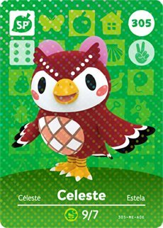 Celeste - Nintendo Animal Crossing Happy Home Designer Amiibo Card - 305