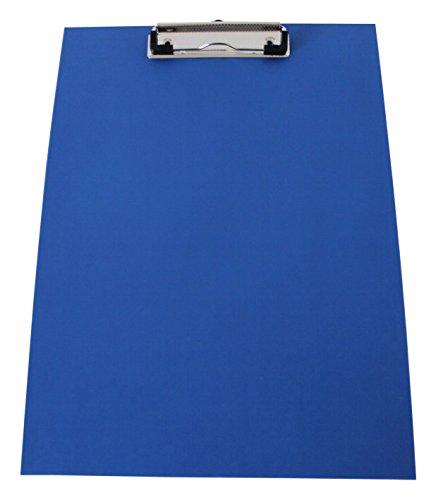 Klemmbrett/Schreibplatte/Klemmplatte A4 economy aus Graupappe, mit PVC-Folien-Überzug, mit Drahtbügelklemme, leinengeprägt, Farbe: blau - 10 Stück