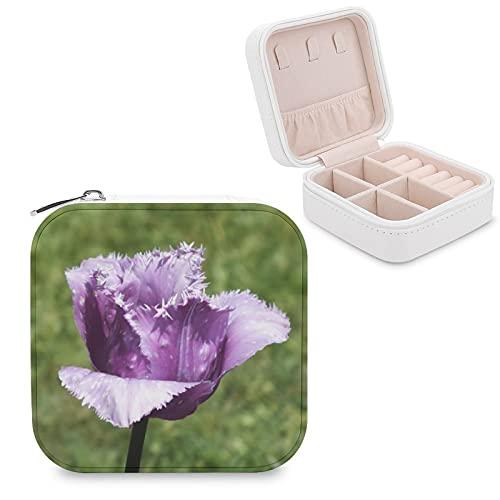 Joyero de tulipán con flecos morados, pequeño, caja de almacenamiento de joyas, pendientes, collar organizador de piel sintética para mujeres y niñas