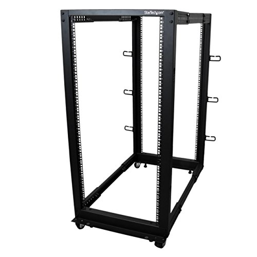 StarTech.com 25U Open Frame Server Rack - 4 Post Adjustable Depth (22' to 40') Network Equipment Rack w/ Casters/ Levelers/ Cable Management (4POSTRACK25U)