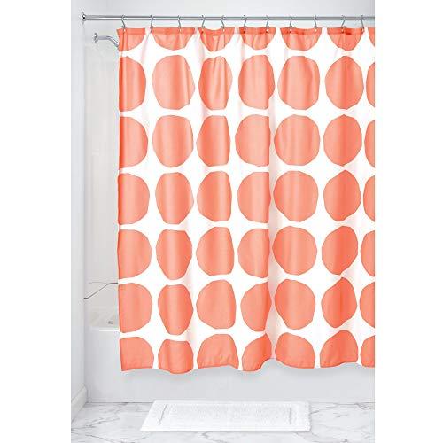 mDesign douchegordijn met stippen patroon, waterbestendig spatbescherming van polyester, badaccessoires voor douche of badkuip, rood