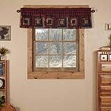 VHC Brands Rustic & Lodge Kitchen Window Cumberland Red Patchwork Curtain, Valance 16x60